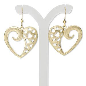 earring, gold-finished steel and brass, 1-1/2 inches with brushed open heart and heart cutout design with fishhook earwire. sold per pair.