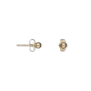 earring, gold-plated / gold-finished brass / 14kt gold-filled, 3mm ball with post. sold per pkg of 5 pairs.