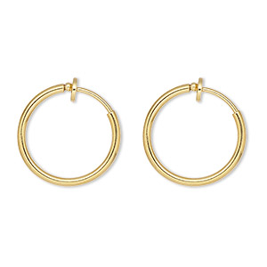 earring, gold-plated brass, 17mm round hoop with pierced-look spring closure. sold per pair.