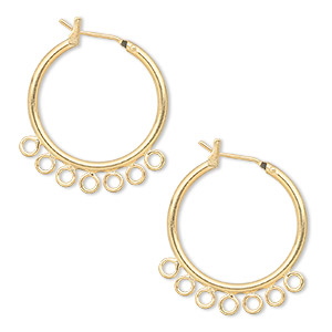 earring, gold-plated brass, 23mm round hoop with 7 closed loops and latch-back closure. sold per pkg of 5 pairs.