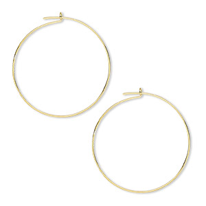 earring, gold-plated brass, 25mm round hoop. sold per pkg of 50 pairs.