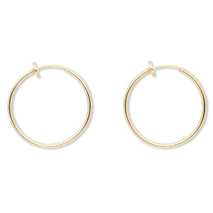 earring, gold-plated brass 25mm round hoop with pierced-look spring closure. sold per pair.