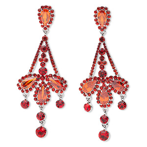 earring, imitation rhodium-finished pewter (zinc-based alloy) / czech glass rhinestones / acrylic, red, 88x34mm drop, earnuts included. sold per pair.