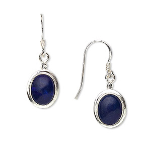 earring, lapis lazuli and sterling silver, 28mm with 9x7mm oval and fishhook earwire. sold per pair.