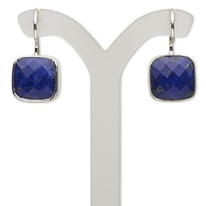 earring, lapis lazuli (natural) and sterling silver, 25mm with 13x13mm faceted cushion and fishhook earwire. sold per pair.