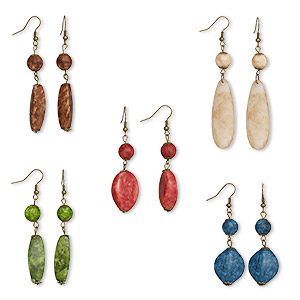 earring mix, acrylic and antique brass-plated steel, multicolored, 59x10mm-78x18mm mixed shapes. sold per pkg of 5 pairs.
