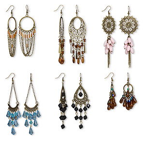 earring mix, acrylic with antique gold-finished brass and pewter (tin-based alloy), mixed colors, 2-1/2 to 4-1/2 inches with mixed shape. sold per pkg of 6 pairs.