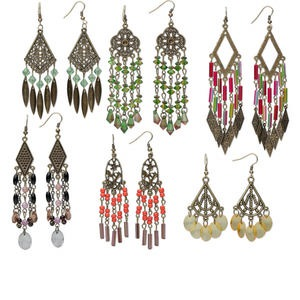earring mix, antique brass-plated steel and acrylic, mixed colors, mixed size chandelier styles. sold per pkg of 6 pairs.
