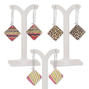 earring mix, color film with imitation rhodium-plated steel and pewter (zinc-based alloy), multicolored, 2-1/2 inches with diamond and kidney earwire. sold per pkg of 3 pairs.