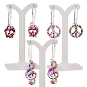 earring mix, color film with imitation rhodium-plated steel and pewter (zinc-based alloy), multicolored, 2-1/4 to 2-3/4 inches with peace sign / skull / music note and kidney earwire. sold per pkg of 3 pairs.