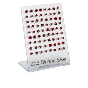 earring mix, preciosa glass rhinestone and sterling silver, light siam, mixed size and shape. sold per pkg of 36 pairs.