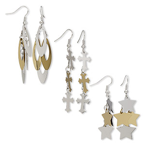 earring mix, stainless steel / gold-finished steel / silver-plated brass / steel / stainless steel, 2- to 2-3/4 inch two-tone mixed shape with fishhook earwire. sold per pkg of 3 pairs.