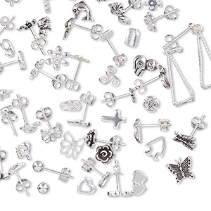 earring mix, sterling silver, 3-19mm mixed shape with post. sold per 100-gram pkg, approximately 120 pairs.