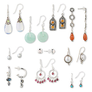 earring mix, sterling silver and gemstone (natural / dyed / heated / imitation), mixed style / size. sold per pkg of 10 pairs.