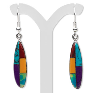 earring, multi-gemstone (imitation) / resin / pewter (tin-based alloy), multicolored, 52x9mm with 31x9mm mosaic marquise and fishhook earwire. sold per pair.