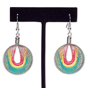 earring, nylon and silver-finished steel, pink / yellow / green, 2-1/4 inches with round and fishhook earwire. sold per pair.