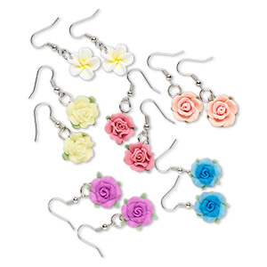 earring, polymer clay and steel, assorted colors, 15mm flower shape with fishhook earwire. sold per pkg of 6 pairs.