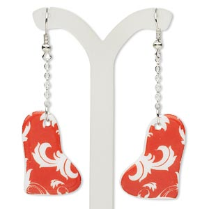 earring, porcelain and silver-finished steel, white and red, 2-1/2 inches with 33x22mm heart and fishhook earwire. sold per pair.