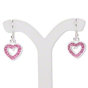 earring, preciosa glass rhinestone / epoxy / sterling silver, pink, 23x11mm with 11x10mm single-sided open heart and fishhook earwire. sold per pair.