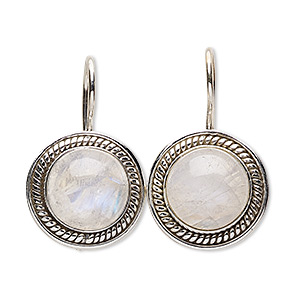 earring, rainbow moonstone (natural) and sterling silver, 28mm with 12mm round and fishhook earwire with safety. sold per pair.