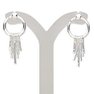 earring, silver-finished steel, 38mm with ring and dangles with post. sold per pair.