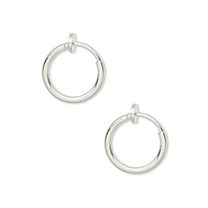 earring, silver-plated brass, 13mm round hoop with pierced-look spring closure. sold per pair.