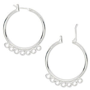 earring, silver-plated brass, 29mm round hoop with 7 closed loops and latch-back closure. sold per pkg of 5 pairs.