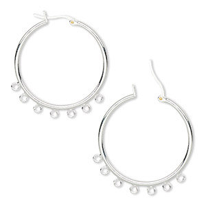 earring, silver-plated brass, 32mm round hoop with 7 closed loops and latch-back closure. sold per pkg of 5 pairs.