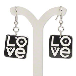 earring, silver-plated steel / acrylic / glass chaton, black / white / clear, 1-3/4 inches with 20x20mm square with love design and fishhook earwires. sold per pair.