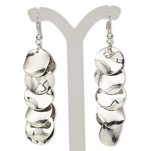 earring, silver-plated steel and glass rhinestone, clear, 2-3/4 inch wavy flat rounds with fishhook earwire. sold per pair.