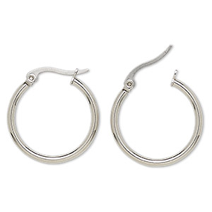 earring, stainless steel, 24mm round hoop with latch-back closure. sold per pair.
