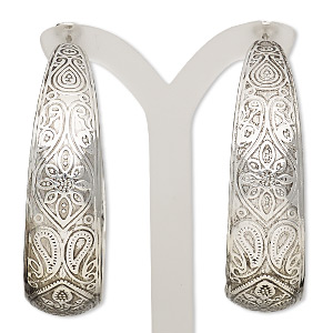 earring, stainless steel and antique imitation rhodium-plated steel, 2-inch round hoop with etched paisley design and latch-back closure. sold per pair.