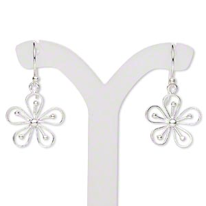 earring, sterling silver, 15x15mm openwork flower with fishhook earwire, 28x15mm overall. sold per pair.