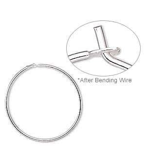 earring, sterling silver, 19mm round hoop. sold per pkg of 25 pairs.