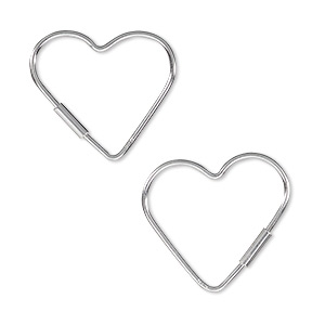earring, sterling silver, 20mm open heart wire hoop. sold per pair.