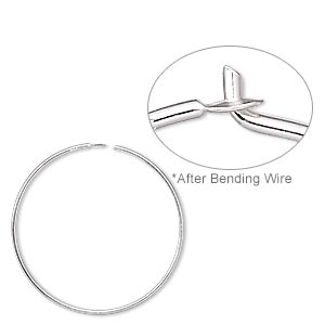 earring, sterling silver, 25mm round hoop. sold per pkg of 25 pairs.