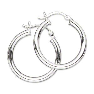 earring, sterling silver, 25mm round hoop with latch-back closure. sold per pair.