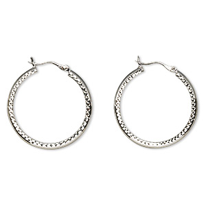 earring, sterling silver, 29mm smooth and diamond-cut round hoop with latch-back closure. sold per pair.