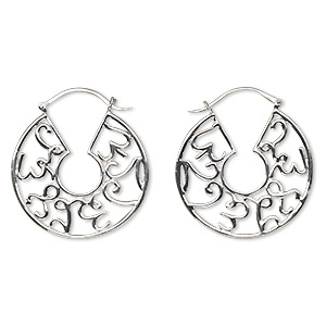 earring, sterling silver, 36mm fancy round hoop with latch-back closure. sold per pair.