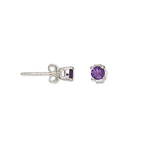 earring, sterling silver and amethyst (natural), 4mm round post. sold per pair.