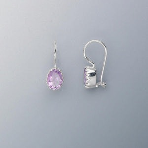 earring, sterling silver and amethyst (natural), 7x6mm faceted oval, 18x7mm. sold per pair.