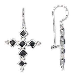 earring, sterling silver and black onyx (dyed), 3mm faceted square, 42x24mm cross. sold per pair.