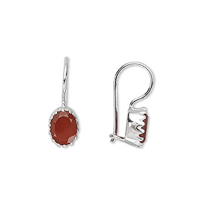 earring, sterling silver and carnelian (heated), 7x6mm faceted oval, 18x7mm. sold per pair.