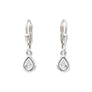 earring, sterling silver and cubic zirconia, clear, 26mm with 8x6mm faceted pear and leverback earwire. sold per pair.