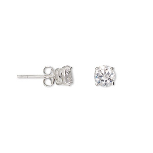 earring, sterling silver and cubic zirconia, clear, 6mm faceted round with post. sold per pair.