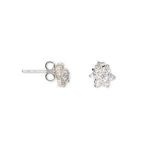 earring, sterling silver and cubic zirconia, clear, 8x8mm flower with post. sold per pair.