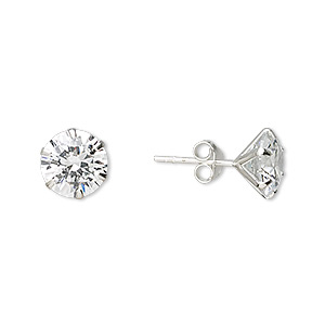 earring, sterling silver and cubic zirconia, clear, 9mm faceted round with post. sold per pair.