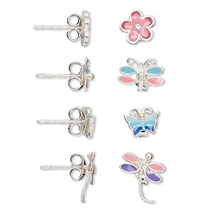 earring, sterling silver and enamel, multicolored, 7x6mm-10x8mm butterfly / dragonfly / flower with earstud, earnuts included. sold per set of 4 pairs.