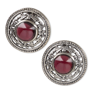 earring, sterling silver and garnet (natural), 10mm round, 22mm. sold per pair.