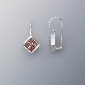 earring, sterling silver and garnet (natural), 3x3mm faceted diamond, 21x12mm. sold per pair.